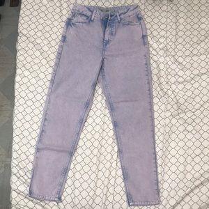 Topshop MOTO denim mom jeans in washed purple